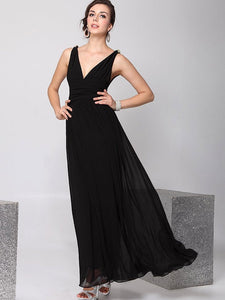 Pretty Deep V-Neck Sleeveless A Line Evening Dress BLACK XL