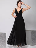 Pretty Deep V-Neck Sleeveless A Line Evening Dress DARK PURPLE M