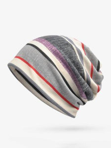 Bohemia Cotton Stripe Hat Accessories GRAY