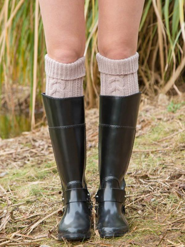 Knitting Over Knee-high Leg Warmer Thermal Stocking CREAMY