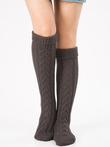 Knitting Over Knee-high Leg Warmer Thermal Stocking DEEP GRAY