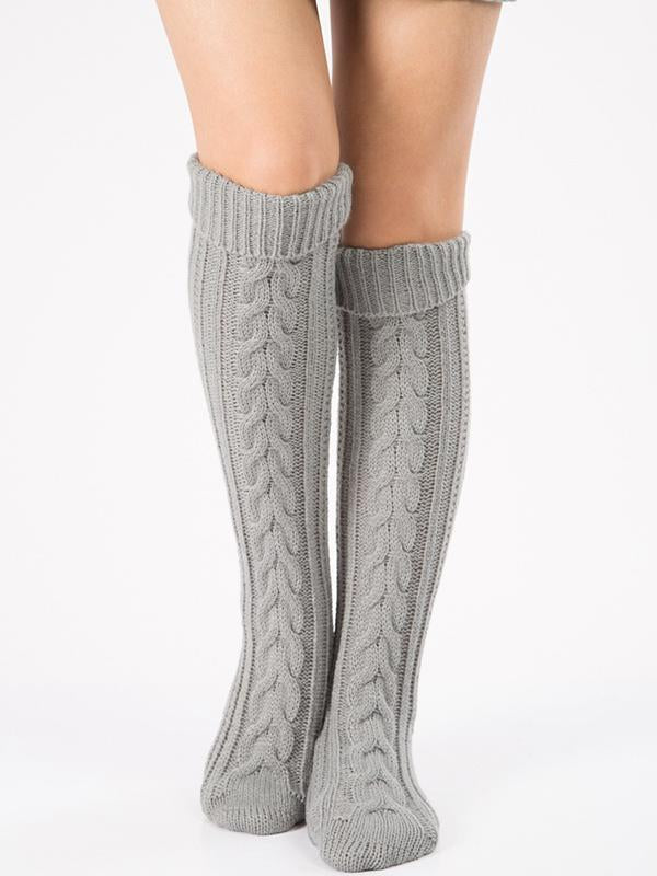 Knitting Over Knee-high Leg Warmer Thermal Stocking LIGHT GRAY