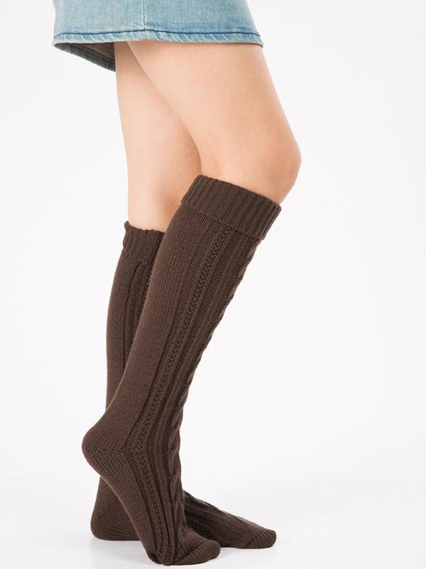 Knitting Over Knee-high Leg Warmer Thermal Stocking BLACK