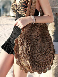 Crochetting Flower Knitting Bohemia Bag DEEP BROWN FREE SIZE