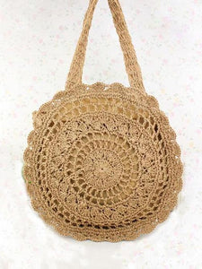 Crochetting Flower Knitting Bohemia Bag WHITE FREE SIZE