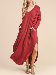 Solid Color Long Sleeves Split-side Maxi Dress RED S