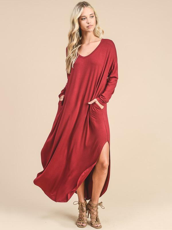 Solid Color Long Sleeves Split-side Maxi Dress RED L