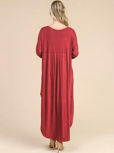 Solid Color Long Sleeves Split-side Maxi Dress RED XL