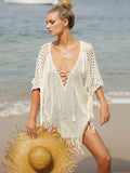 Knitting Tasseled Cover-Ups Swimwear WHITE