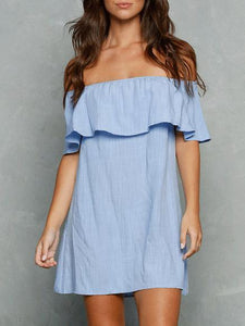 Off-the-shoulder Falbala Mini Dress BLUE S