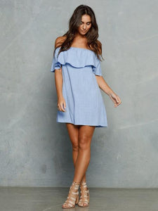 Off-the-shoulder Falbala Mini Dress BLUE L