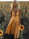 Solid Color Bowknot Midi Dresses YELLOW L