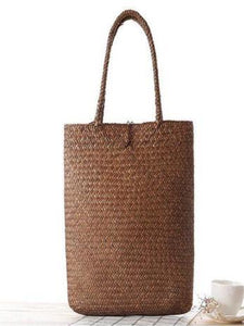 Simple Literature Shoulder Straw Bag BROWN