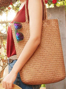 Luluslike Simple Literature Shoulder Straw Bag