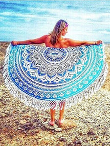 Beautiful Summer Bohemia Round Beach Mat Yoga Mat RED