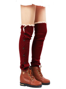 Lace Leg Warmers Jacquard Weave Over Knee-high Stocking WINE RED