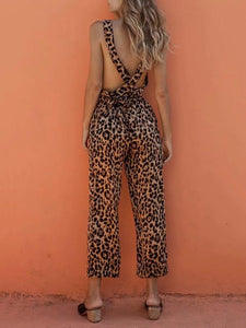 Leopard Printed Crossover Strap of Back Jumpsuits SAME AS PICTURES L