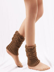 Solid Color Hollow Leg Warmers Stocking KHAKI