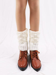 Solid Color Hollow Leg Warmers Stocking COFFEE
