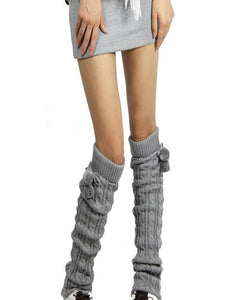 Knitting Solid Color Over Knee-high Stocking WHITE
