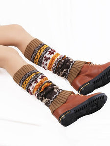 Printed Leg Warmers Stocking KHAKI