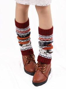 Printed Leg Warmers Stocking COFFEE