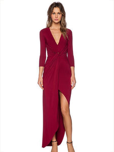 Solid Color Asymmetry Long Sleeves Jumper Maxi Dress WINE RED L