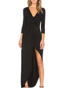Solid Color Asymmetry Long Sleeves Jumper Maxi Dress BLACK S