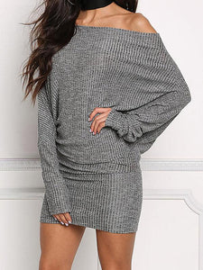 Long Sleeves Off-the-shoulder Bodycon Waisted Mini Dress GRAY S