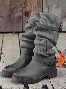 Fashion Knitting Mid Calf Boots BROWN 35