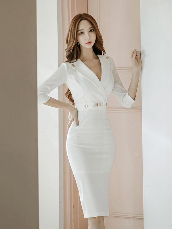 Sexy White Lapel Neck Long Sleeve Belted Slim Fit Tea Length Dress M