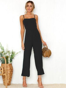Solid Color Spaghetti-neck Wide Leg Jumpsuits BLACK L