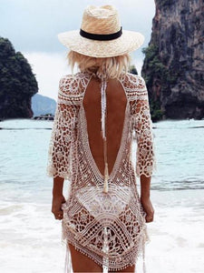 Hollow Lace Backless Crochetgo Mini Cover-ups CREAMY