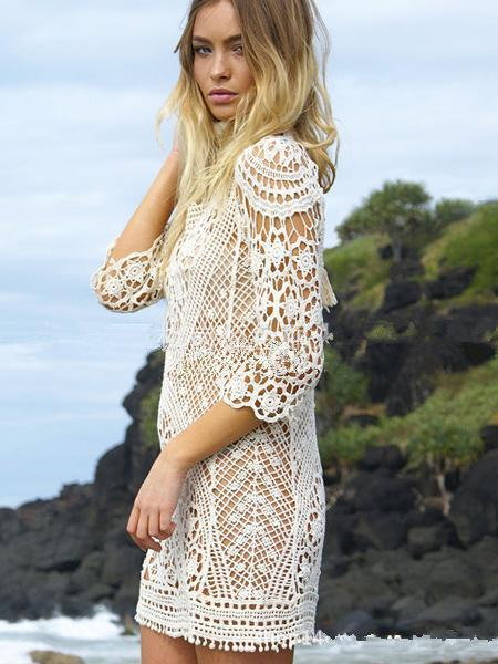 Hollow Lace Backless Crochetgo Mini Cover-ups WHITE