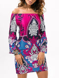 Sexy Floral Bohemia Off Shoulder Long Trumpet Sleeve Bodycon Mini Dress PURPLE RED M