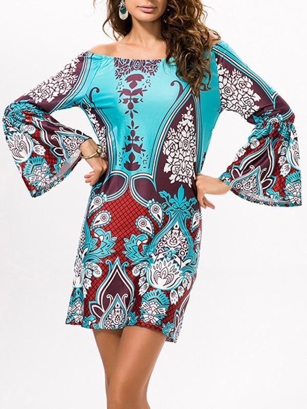 Sexy Floral Bohemia Off Shoulder Long Trumpet Sleeve Bodycon Mini Dress PURPLE RED L