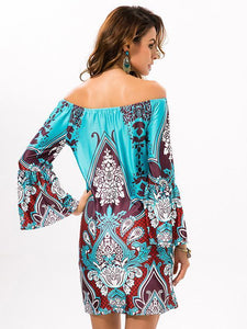 Sexy Floral Bohemia Off Shoulder Long Trumpet Sleeve Bodycon Mini Dress PURPLE RED XL