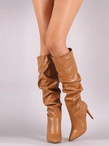 Pretty Thin Heels Knee High Boots BROWN 37