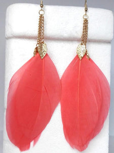 Fashion Popular Bohemia Feather Shape Style Alloy Earrings RED