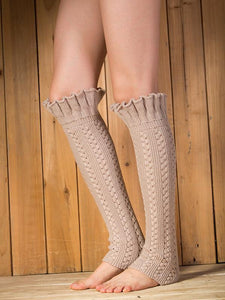 Knitting Lotus Pattern Knee-high Leg Warmer Thermal Stocking CREAMY