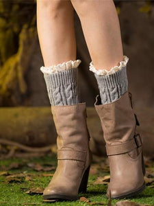 Popular Lace Solid Color Leg\u0026Ankle Warmers KHAKI