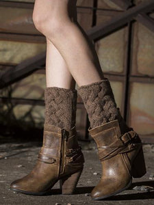 Popular Solid Color Twist Leg\u0026Ankle Warmers CREAMY