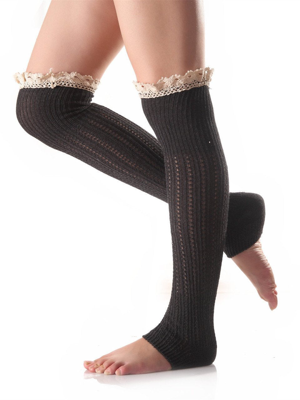 Knitting Lace Solid Color Stocking DARK GRAY