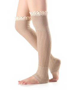 Knitting Lace Solid Color Stocking KHAKI