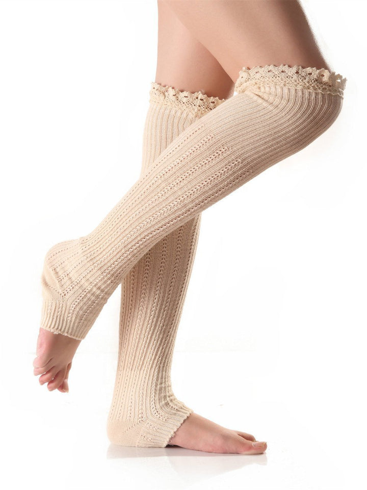 Knitting Lace Solid Color Stocking WHITE