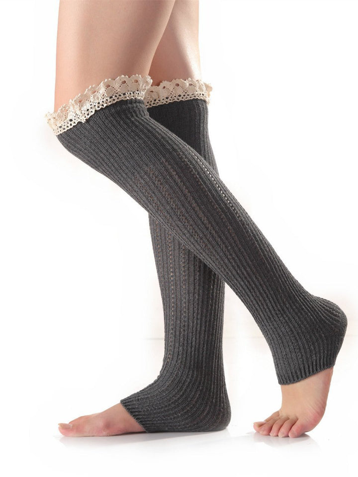 Knitting Lace Solid Color Stocking LIGHT GRAY