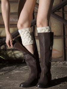 Popular Solid Color Twist Leg\u0026Ankle Warmers WHITE