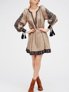 Ethnic-style Embroidery Tassels V-neck Mini Dress GRAY S