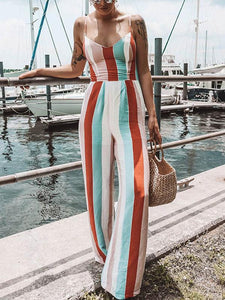 Bohemia Striped Spagetti-neck Loose Long Jumpsuits STRIPED S