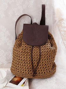 Hollow Straw Plaited Article Bohemia Backpack BROWN FREE SIZE